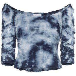Miaou blue tie dye ruched scoop neck top